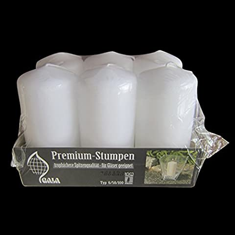6 Premium Quality White Pillar Candles 50/100mm - 20 Hour Burn Time