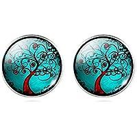 Damen Ohrstecker Lebensbaum Ohrringe Glas-Cabochon türkis handmade Schmuckphantasien Baum Bäumchen Zauberbaum 12mm Motiv silber