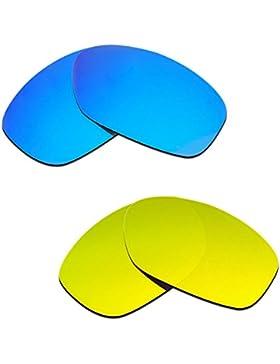 Hkuco Plus Mens Replacement Lenses For Oakley Pit Bull Blue/24K Gold Sunglasses