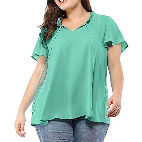 TEELONG Damen Plus Size Solid Self-Tie Neck Rüschenärmel Chiffon Bluse Shirt Top t Shirt Damen Tops für Damen T-Shirts & Blusen für Damen Sweatshirts für Damen - Tie Neck Chiffon-bluse