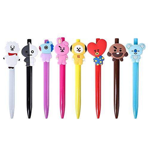 Yuxareen Kpop BTS - Bolígrafo de punta redonda (8 piezas, punta de acrílico, tinta negra, para oficina, escuela, papelería)