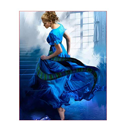 CCEEBDTO Puzzle 1000 Stück 3D DIY Das Mädchen In Der Blauen Dres Abbildung Hochzeitsdekoration Bild Geschenk Holzpuzzle Kinder Älteres Ehepaar Familie Geschenke