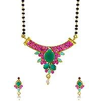 Anuradha Art Gold Finish Pink-Green Colour American Diamond Mangalsutra for Women
