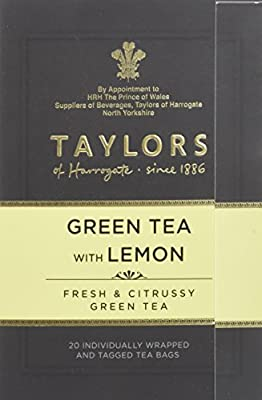 TAYLORS OF HARROGATE Thé Vert au Citron 20 Sachets 40 g - Lot de 3