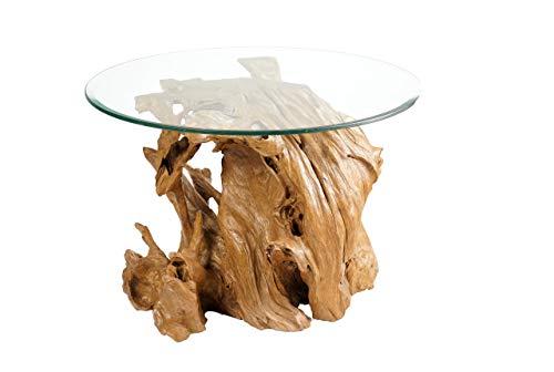 Mesa de centro base de raíces de árbol y tablero de cristal
