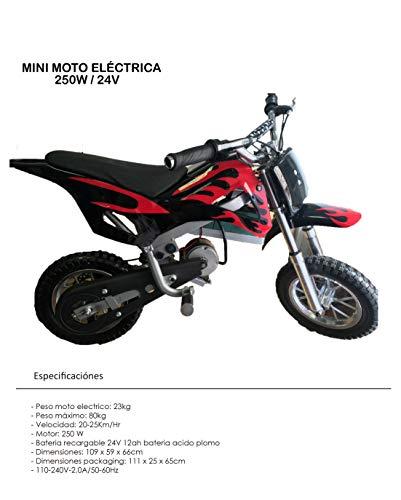 Mini pit bike eléctrica con motor de 250w / 24v - dirt bike - mini moto eléctrica para niños -...