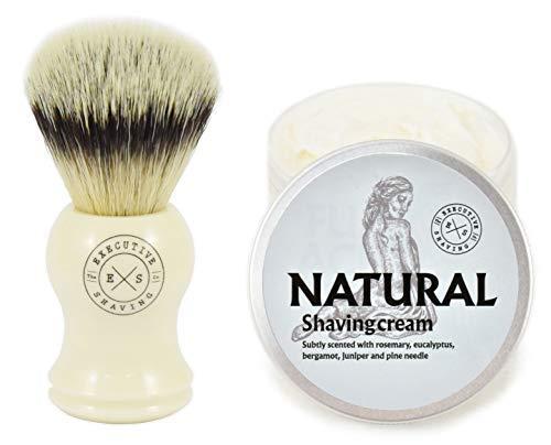 Executive Shaving Kunstfaser Borste Rasierpinsel und Natürliche Rasierschaum (Rasierschaum Simpson)
