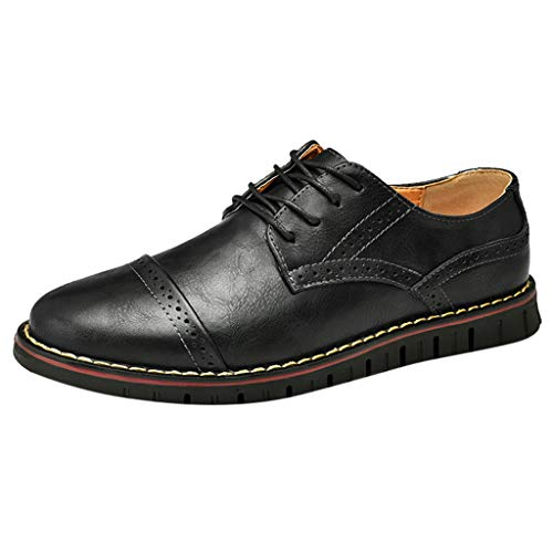 KonJin Men's Prince Leather Lined Dress Oxfords Shoes Solid Color Round Toe Sewing Flat Heel Shallow Mouth Leather Shoes Cordovan Wingtip