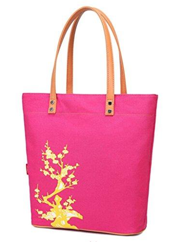 Fortuning's JDS® Retro floral bedruckte Baumwolle Leinwand Schulterbeutel Totehandtasche pink