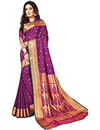 Craftsvilla Women's Silk Blend Purple Saree with Butta Work and contrast Traditional Pallu and Unstitched Blouse Piece