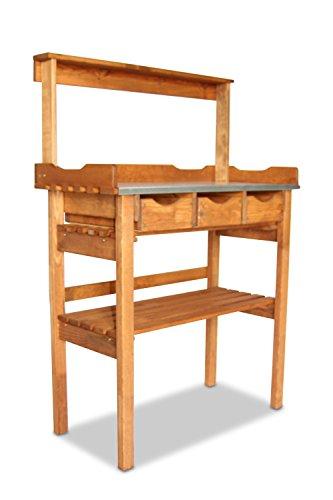 naturholz pflanztisch mit 3 schubladen zinkauflage haken braun. Black Bedroom Furniture Sets. Home Design Ideas