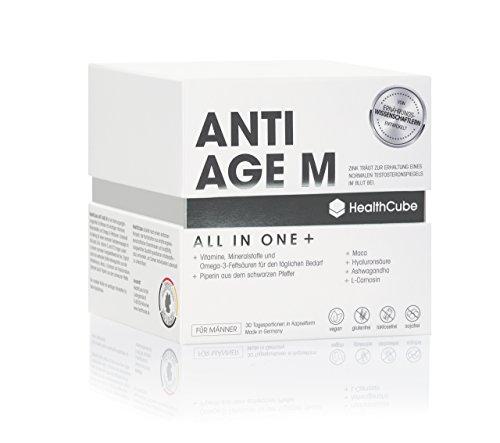 Anti-Aging Pflege für Männer - Multivitamin Kapseln Hochdosiert | Vitamin B12, C, D3, E/Mit Maca/Omega 3 Fettsäuren/Ashwagandha / Hyaluronsäure • 100% Vegan • Made in Germany / 30 TAGE VORRAT
