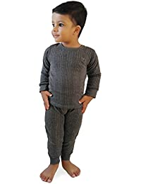 Hap Kings Round Neck Grey Melange Winter Thermal Set of Top Trouser & Matching Cap for Kids/Thermal for Boys and Girls/Kids Thermal Set