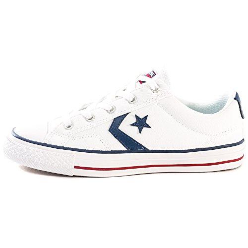 Converse Star Player Core Canvas OX, Chaussures de Gymnastique Mixte Adulte Blanc Cassé - Bianco (White White Navy)