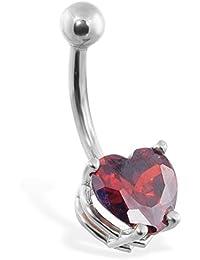 14 K del vientre anillo dorado con Ruby Lab creado 8 mm en forma de corazón