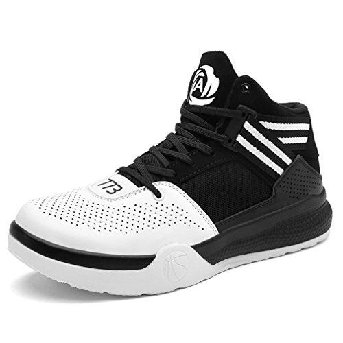 LanFengeu Unisex-Erwachsene Basketballschuhe Atmungsaktiv Anti-Rutsche Hoch Modische Laufschuhe Sportlicher Herren Damen Geschlossene Tennisschuhe Weiß 36 EU
