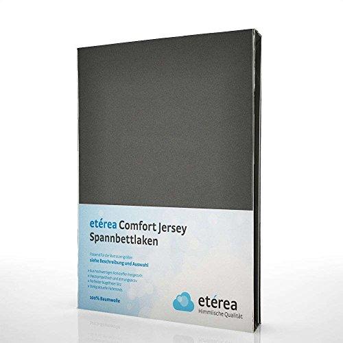 Etérea Jersey Topper Spannbettlaken- Serie Comfort - 100% Baumwolle Spannbetttuch Farbe Anthrazit, in der Größe 90x200-100x200cm