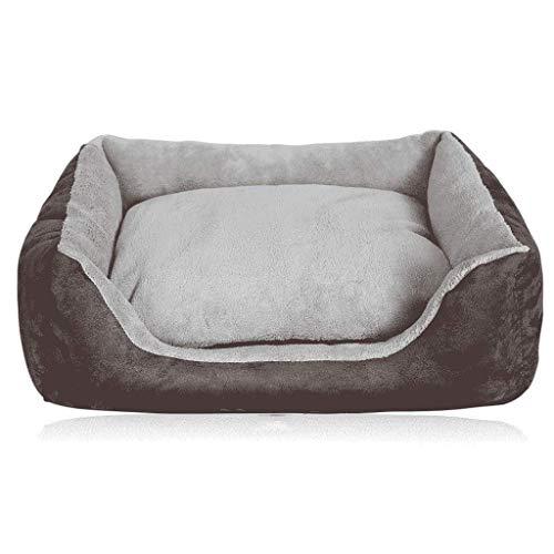 CZWYF Hundebett mit abnehmbarem, waschbarem Bezug, Kuschel-Haustierbett for kleine, mittelgroße Hunde und Katzen, superweiche und haltbare Haustierausstattung/braun/DREI Größen (Size : L)