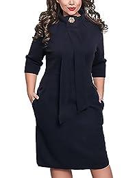 Donna Vestiti Cerimonia Autunno Invernali Vestitini Elegante Slim Fit  Vintage Abito Grazioso Moda Classico Partito Abiti Manica 3 4 con La Zip… 62e57770c0ea