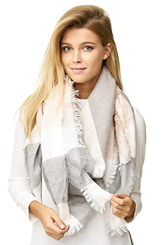 JillyMode XXL Damen Schal Winter Dick Warm und weich viele schöne Mustern (1001-4-Rosa/H.Grau)