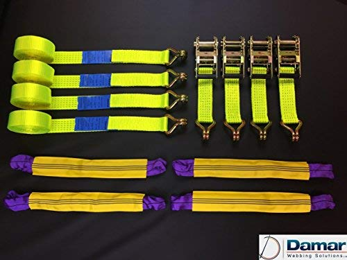 4 x 4mtr Car Transporter Spanngurt-Set, Erholung, Violett mit soft links