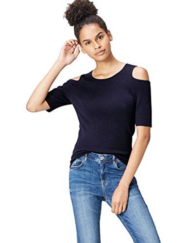 find. T-Shirt Damen gerippt, mit Off-Shoulder-Design, Blau (French Blue), 38 (Herstellergröße: Medium) - Medium Damen T-shirt