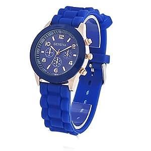 Unisex Geneva Silicone Jelly Gel Quartz Analog Sports Wrist Watch Dark Blue