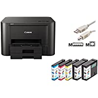 Canon MAXIFY iB4150 Tintenstrahldrucker mit 5 kompatiblen Patronen+ USB-Kabel (A4, Drucker, Duplex, LAN, WLAN, Cloud)