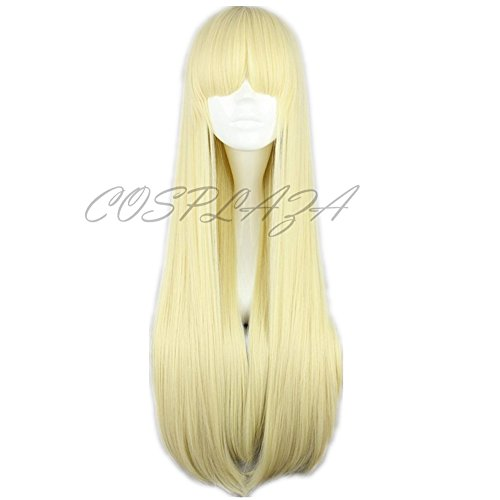 COSPLAZA Perücke Blond lang glatt Anime Cosplay Wig Mädchen Flat Bang Haar