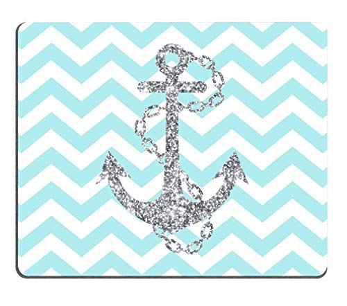 Light Blue Chevron Zigzags & Gray Anchor Pattern Personalized Custom Mouse Pad 250mm*300mm (Chevron Blue Light)