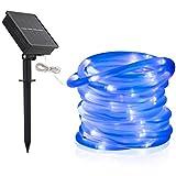 Solar Lichtschlauch Außen, DINOWIN 39 ft/12M 100 LEDs Schlauch lichterkette Wasserdicht Schlauchlicht Lichtschlauch, Seil Beleuchtung für Garten Yard Weg Zaun Baum Hochzeit Party Deko Modern (Blau)