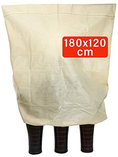 Praknu Winterschutz für Kübelpflanzen XXL - Mit Tasche - Reißfest - Atmungsaktiv - Waschbar - 180 x 120 cm Groß
