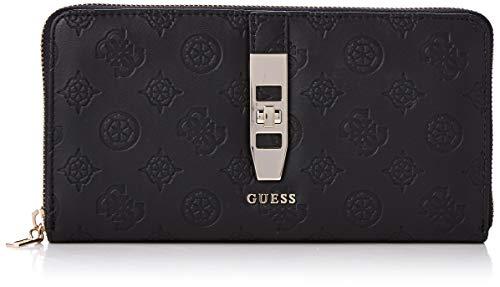 Guess peony classic slg cheque org, portafoglio donna, nero (black), 3x11x21 cm (w x h x l)