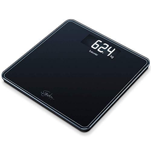 Beurer GS 400 black Signature Line Glas-/Personenwaage, mit großer Trittfläche aus Sicherheitsglas, stylischem Schwarz-Display im XL-Format und Tragkraft bis 200 kg