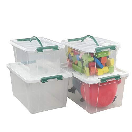 Ordate Caja Plastico Transparente, Tamaño Pequeño y Grande, 4 Unidades