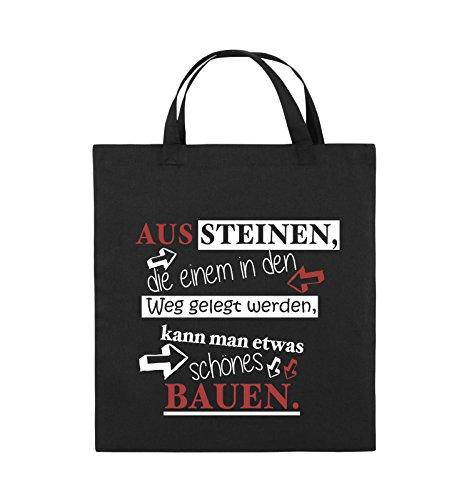 Comedy Bags - Aus Steinen, die einem in den Weg gelegt werden, kann man etwas schönes Bauen. - Jutebeutel - kurze Henkel - 38x42cm - Farbe: Schwarz / Weiss-Neongrün Schwarz / Weiss-Rot