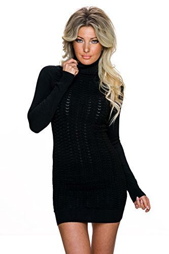 D&Z Damen Feinstrick Kleid Strickkleid Pullikleid mit Ajour Front und Rollkragen | Long Pullover Pulli Strukturmuster | schwarz 32 34 36
