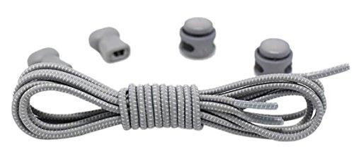 Santimon Elastische Schnürsenkel mit Schnellverschluss für Erwachsene und Kinder – Schnellschnürsystem für Sportschuhe Arbeitsschuhe Schlittschuhe Wanderschuhe Hell Grau