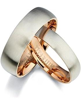 Gemini Damen-Ring Titan , Herren-Ring Titan , Freundschaftsringe , Hochzeitsringe , Eheringe, Mattiert rund Breite...
