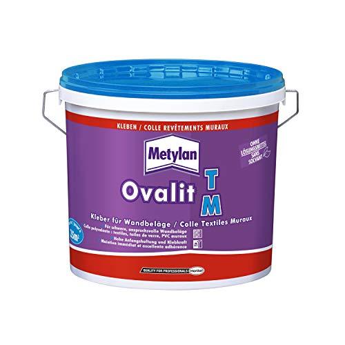 Metylan Ovalit TM, Tapetenkleber pur oder als Zusatz für Tapetenkleister, sehr starker Kleber für schwere Wandbeläge, feuchtigkeits- & nässeunempfindlicher Klebstoff, 1x5kg Eimer (bis zu 25m²)