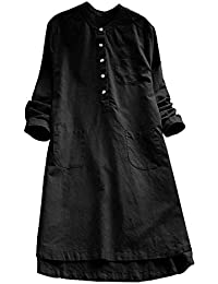 TEBAISE Damen Leinenkleid Vintage Frühling und Sommer Kleid Baumwollleinen  Rundhals Lose Kurzarm Kleider mit Taschen Retrokleid 9e56a881a3