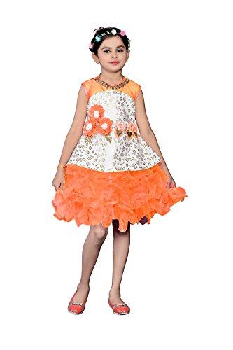 White World Baby Girls Birthday Party wear Orange Color Frock Dress_2 -10...
