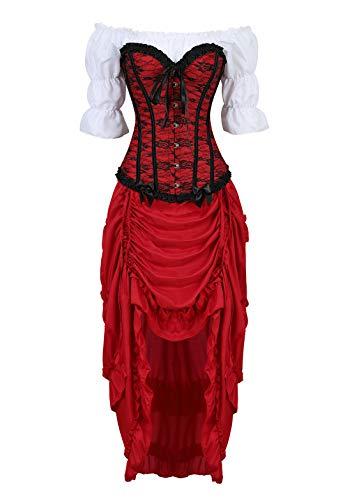(Kranchungel Corsé de Estilo victoriano Steampunk Con Camisa gótica Con volantes y Falda pirata de, juego de 3 trajes 6X-Large Wine Rojo)