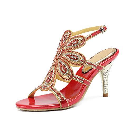 EARIAL& Women's Summer Leather Rhinestone Sandals Silver Gold Ankle Strap High Heels Sandals Women 8cm Sandalia Feminina Red 7.5 - Naturalizer Ankle Strap Sandalen