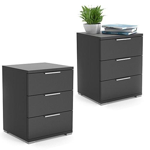 VICCO Nachtschrank 2er Set Kommode Nachttisch Schrank Schublade Ablage Schlafzimmer (Schwarz) - Natürliche Schwarze Beistelltisch