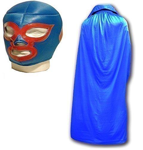 Nacho Libre Maske mit Blau Cape mexikanischen Wrestlers Erwachsene Wrestling Set