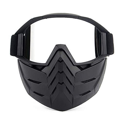 L.Z.H Brille Skibrillen Snowboardbrillen Motorradbrillen mit Abnehmbarer Maske Airsoft Schutzbrillen Maske Winddicht Anti Fog UV-Schutz Gläser (Color : 3, Size : One Size)