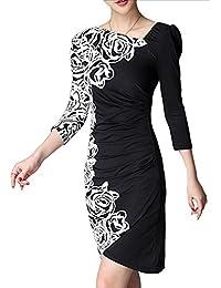 Half Floral Print Slim Party Dress - Black