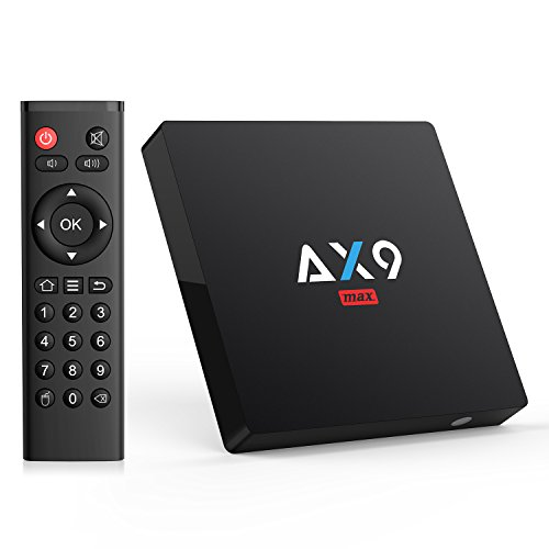 [android 7.1/2gb/16gb] bqeel ax9 max android tv box / 4k hd / h.265 / spdif / av / amlogic quad core a53 processor 64 bits / lan 100m / 2.4g wifi smart tv box