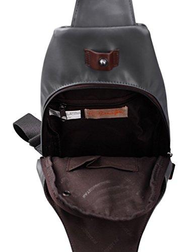Douguyan Canvas Unisex Brusttasche Damen Herren Shoulder Tasche Schultertasche Jungen Sporttasche Kinder Dunkelbraun E00214 5-Grau